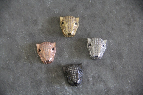 CZ Micro Pave 14x16mm Tiger Head Beads