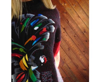 Embroidered KANSAI Japanese Chunky Wool Pullover Sweater - Vintage 80s - L