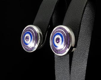 Amethyst earrings enamel silver cloisonne gemstones jewelry guilloche enamel earrings amethyst jewelry hot enamel precious stones earrings