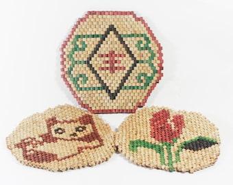 Wood Bead Trivets - Bohemian Decor