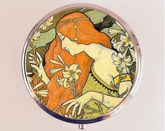 Art Nouveau Redhead Pill Box Case Pillbox Holder Trinket Stash Box Boho Gypsy Edwardian