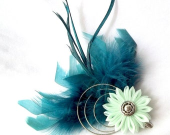 Mint and Teal Feather Fascinator with Kanzashi Flower Statement Hair Piece