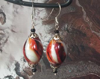Lampwork Glass Black Spinel Jewelry Silver Earrings, lamp work glass earrings, red black white silver glass earrings