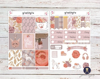 Hello fall planner stickers weekly kit, Autumn planner stickers for Erin Condren Vertical and Happy Planner