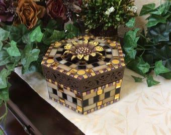 Mosaic Hexagon Box (#163)