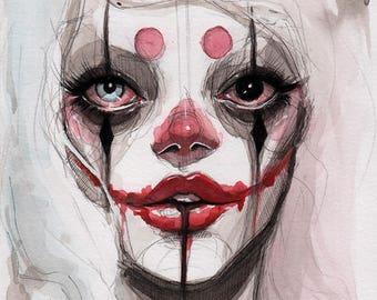 a clown - ORIGINAL - 5x7