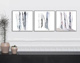 Print Set of Three Square Prints, 3 Piece Wall Art, Birch Tree Wall Art Landscape, Tree Painting,Tree Watercolor Print,Grey Black Brown Bark