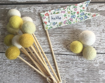 Primrose felt ball flowers - flower posy, billy balls, billy ball flowers, craspedia
