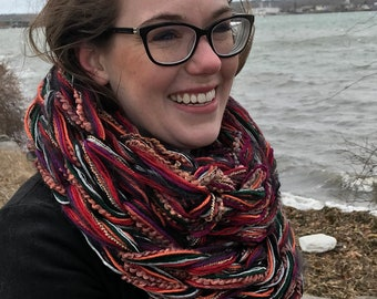 Warm, Black, Silver Infinity Arm Knit Scarf
