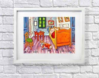 "Corgi print, Corgi Art, Dog Art Print from Original Dog painting by Tod C Steele, 8x10"", After Vincent Van Gogh Painting,"