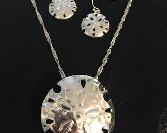 Sterling Silver Sand Dollar Necklace And Earring Set