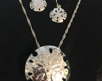 Sand Dollar Necklace And Earring Set Made Of Sterling Silver