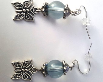 Blue Glass and Butterfly Earrings