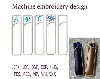 Machine embroidery designs Pen Holder. letter monogram Blank Pen Holder embroidery designs. pencil case   ITH . File Instant Download.