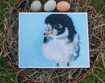 Original Art Chick Print Acrylic Painting Print- Dapper Chick - 8x10 Print, Acrylic Print, Farm Animal Print, Chicken, Light Blue