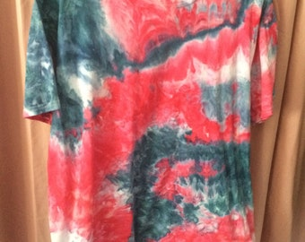 Ice Dye Red, White, and Cobalt Blue T-shirt XL