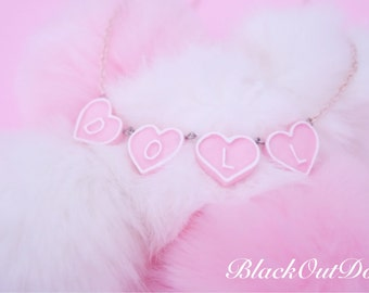 Custom Personalize Doll Kawaii Sweet Heart Harajuku Lolita Fairy Kei Necklace