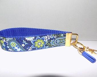 Navy & Royal Blue Jacquard Trim Key Fob Wristlet