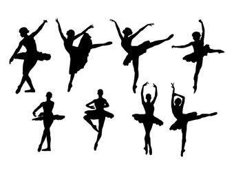 Ballerinas - Set of 8 Silhouette  Ballet Dancers- VINYL DECAL STICKERS