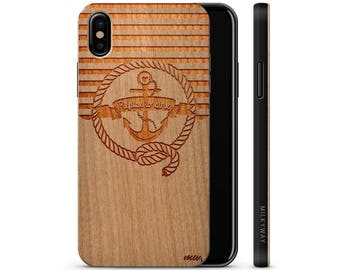 iPhone X Wood Case - Nautical Refuse To Sink
