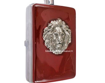 Lion Hip Flask with Cigarette Case Wallet Inlaid in Hand Painted Oxblood Enamel Alcohol Flask with Colors and Personalized Options