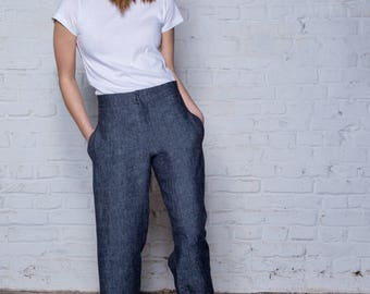 Black high waist classic womens trousers - Hemp womens clothing