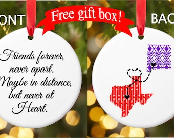 Moving away gift etsy friend ornament long distance ornament state ornament together forever ornament friend gift negle Choice Image
