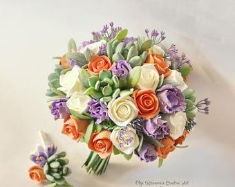 Purple Orange Alternative wedding bouquet Keepsake bouquet Succulent Bridal bouquet Clay wedding bouquet Toss bouquet Clay bridal bouquet