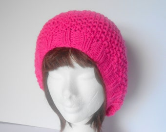 Womens knit Hat. Mothers Day Gift.  Womens Pink Hat. Pink PomPom Hat. Womens slouchy Hat. Pink knitted hat. Chunky knit Hat. Irish Hat