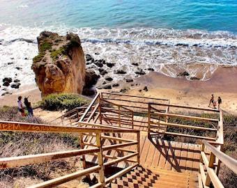 Malibu Beach California Los Angeles Ocean Staircase Photo Art Poster Prints Custom Sizes Summer