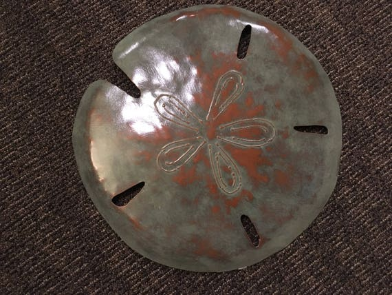 Sand Dollar Metal Sculpture 16in Beach Coastal Art Tropical