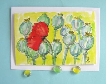 Greeting card red poppy - Blank card flowers - Floral watercolor greeting card - Yellow notecard - Blank inside card - Poppy birthday card