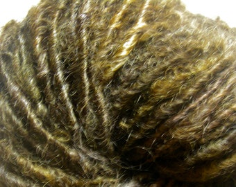 Handspun Curly Bulky Leicester Longwool Yarn in Deep Brown with Gold/Gray by KnoxFarmFiber for Knit Crochet Weave Felt