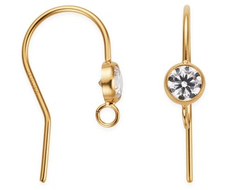 1 Pair, 2 Pcs 14K Gold Filled CZ Earwires (GF4001421)