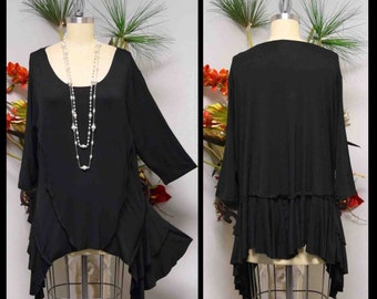 New Gotta Have Oversize Lagenlook Plus Size tunic with Crazy cuts. Fits 1xl/2xl/3xl