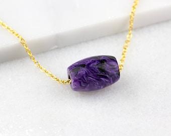 Violet Necklace, Charoite Necklace, Purple Boho Necklace, Dark Purple Necklace, Colorful Necklace, Purple Necklace