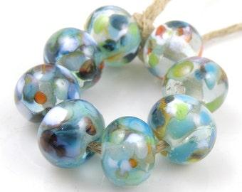 Pond Life SRA Lampwork Handmade Artisan Glass Donut/Round Beads Made to Order Set of 8 8x12mm