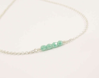 Mint Green Necklace - Simple Everyday Jewelry - Dainty Necklaces - Bridesmaid gifts - Czech glass necklace - Mint green glass necklace