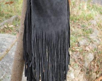 Bohemian fringe bag, sued leather fringe bag, gypsy bag, leather crossbody, handmade leather bag, black festival bag, boho bag, hippie bag