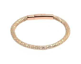 Women's Leather Bracelet Metallic Lizard Print patterned Stitched Two Tone Champagne Gold