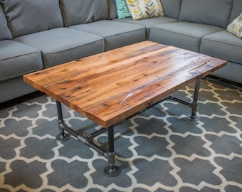 Barn Wood Coffee Table | Reclaimed Wood Coffee Table | Oak Coffee Table | Industrial Table | Iron Pipe Legs