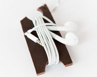 Leather Earbud Holder - Headphone Keychain Holder - Earbud Wrap - Headphone Organizer