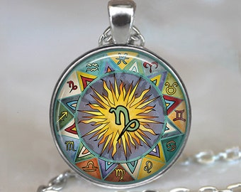 Capricorn Bohemian Zodiac necklace, Boho Capricorn necklace Capricorn pendant Zodiac jewelry Zodiac necklace astrology key chain key fob