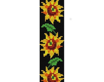 Instant Download Beading Pattern Loom Stitch Bracelet Sunflowers Seed Bead Cuff