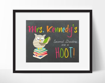 Teachers Gift, Teacher's Owl Name Sign, School Gift Classroom, Owl Classroom, Classroom Decor, Teachers Appreciation, End of The Year