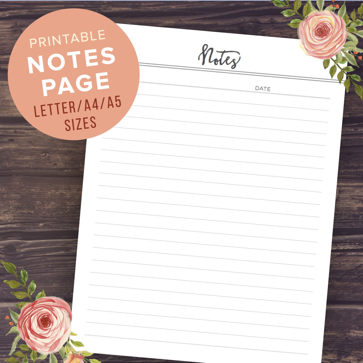 Printable Notepad Paper Notes Planner Pages Printable Notebook Pages Meeting Notes