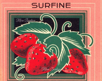 Digital Download of Large 8x10 Vintage French Fraise Label Strawberry - DIY You Print Art Transfers - Instant Download