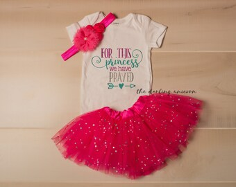 For this princess we have prayed infant girl bodysuit, baby girl bodysuit, newborn coming home outfit, infant outfit, newborn outfit, tutu