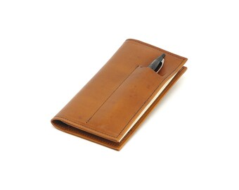 Leather Checkbook Cover with Card Slots and Pen Slot