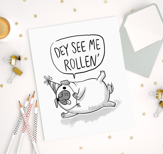 Pug art card birthday cards greeting cards cute card cute bookmarktalkfo Image collections